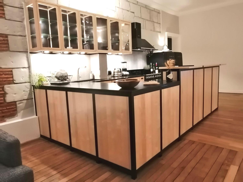 Cuisine Bois Et Metal bar cuisine bois métal - menuiserie et ebénisterie à nantes